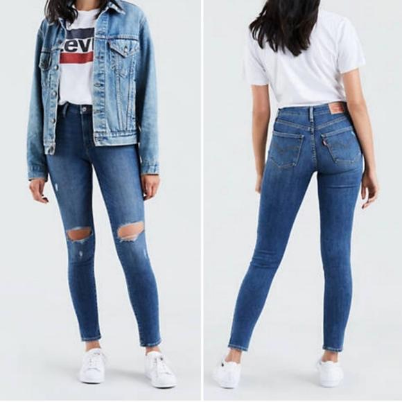 Levi's Denim - Levi's 721 High-Rise Skinny Distressed Jeans 30